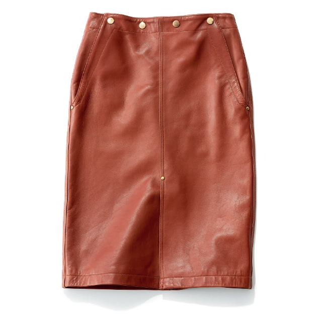 ブラウン レザータイトスカート サイ