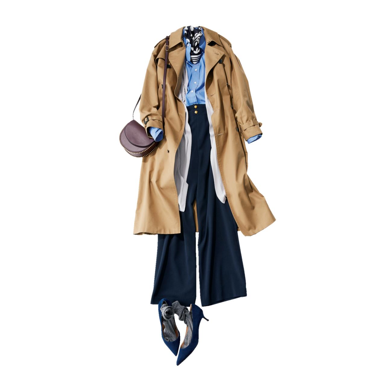ベージュのトレンチコート×ブルーシャツ&ネイビーパンツのファッションコーデ