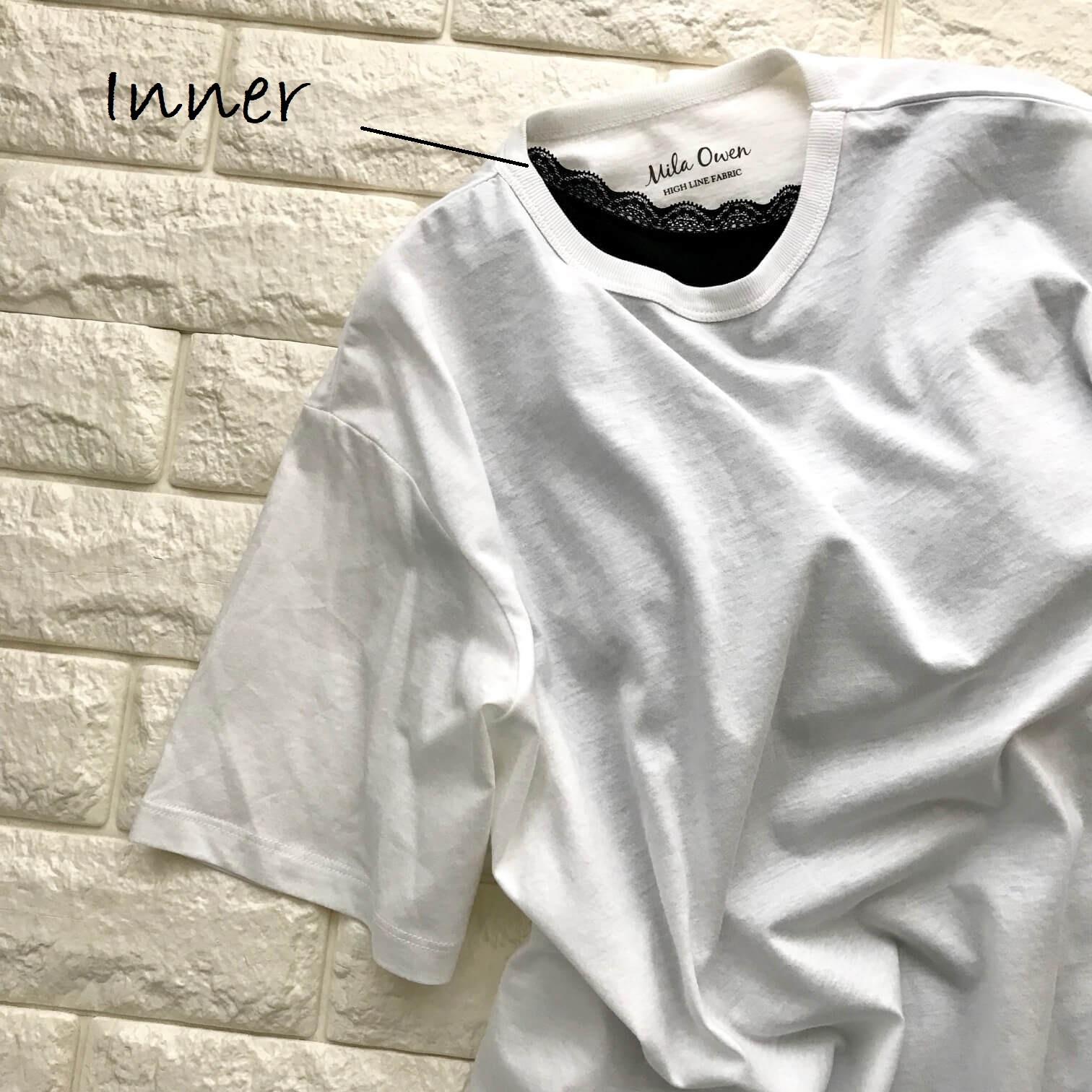 ミラオーウェンのTシャツにインナーを合わせた画像