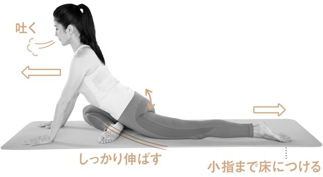 左脚を後ろに伸ばし、右脚は膝を外側に開く