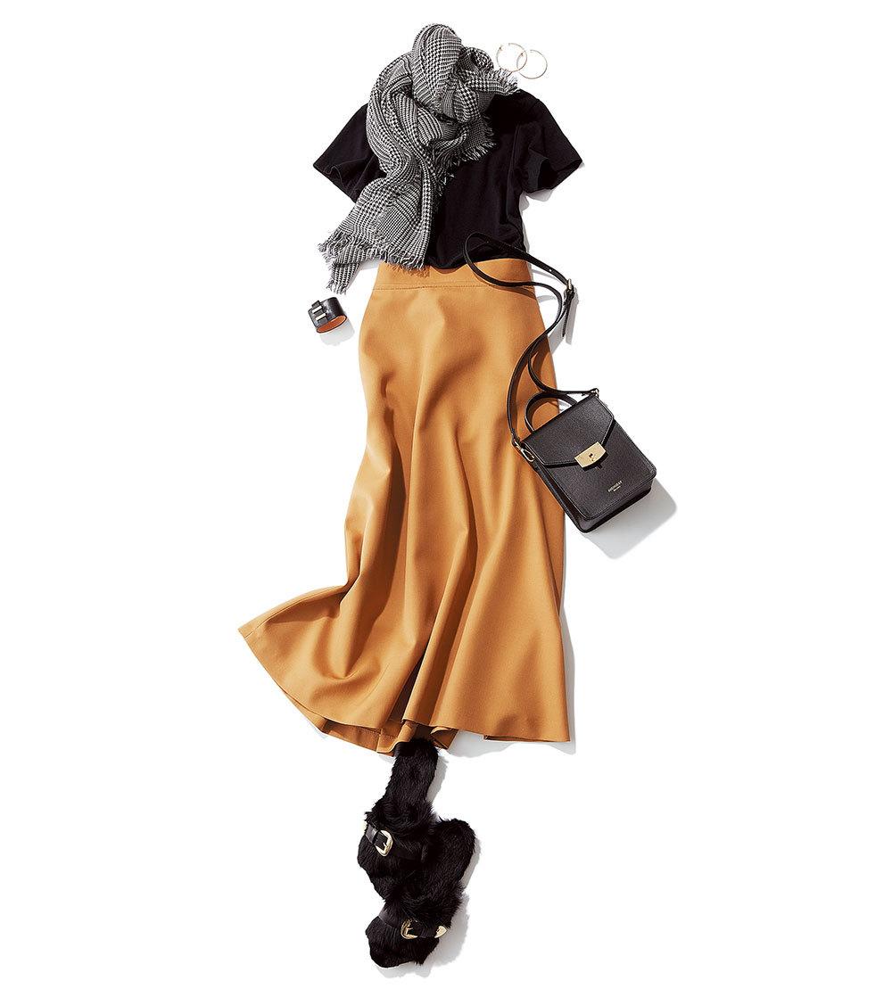 Tシャツ+ふんわりスカートのマンネリコーデに何を足す?_1_2-1