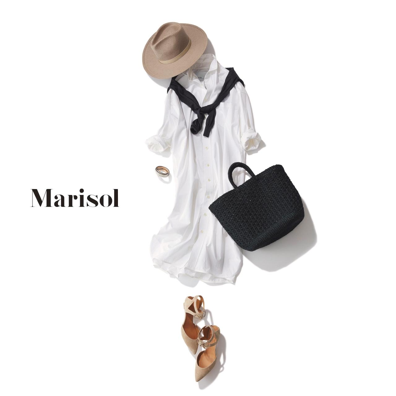 白ワンピース×黒のかごバッグでモノトーンコーデ