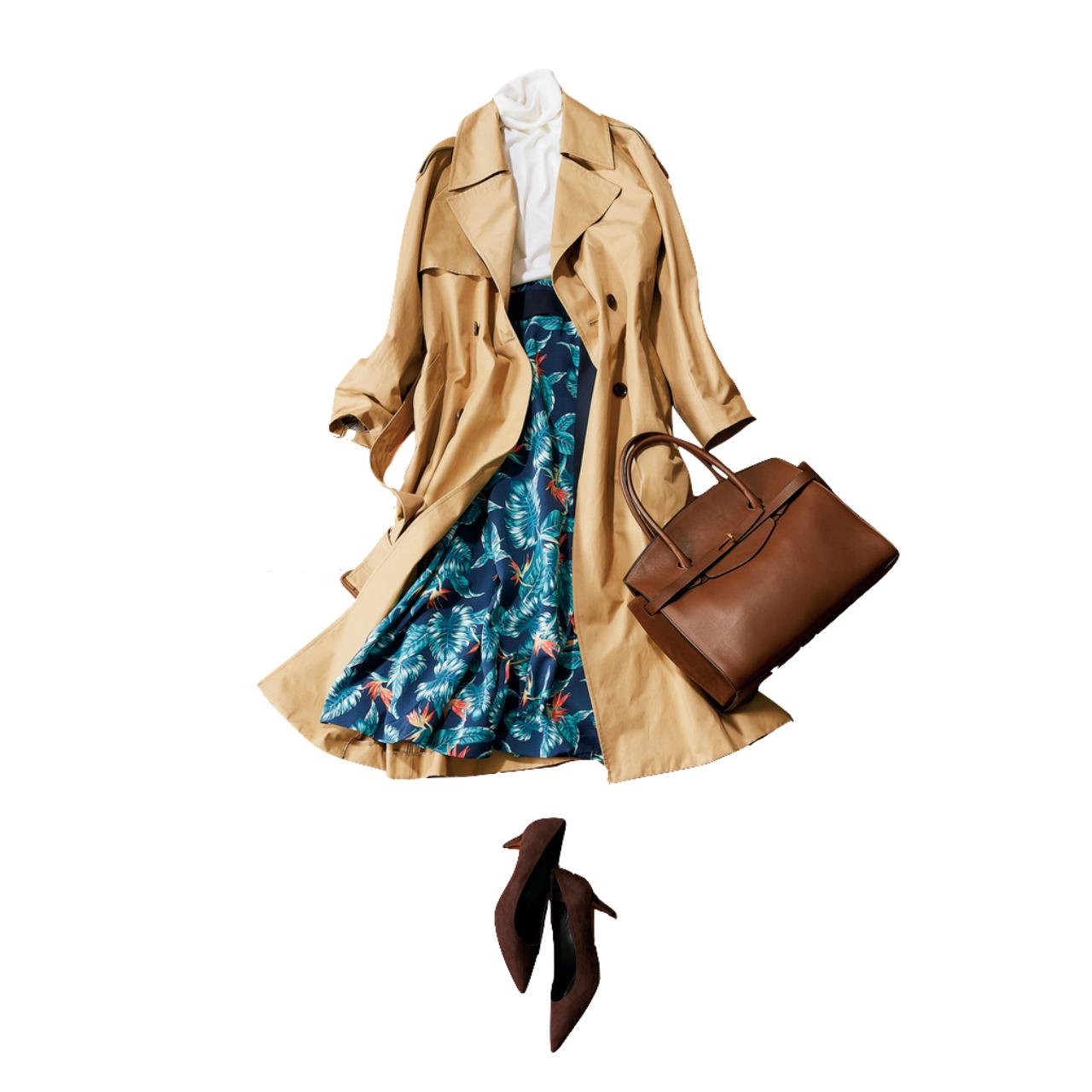ベージュのトレンチコート×ボタニカル柄スカートのファッションコーデ