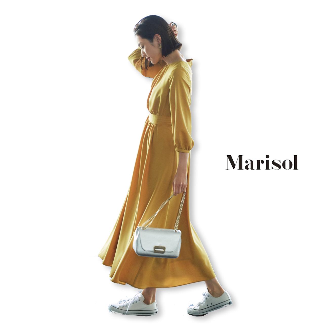 40代ファッション きれい色ワンピースコーデ