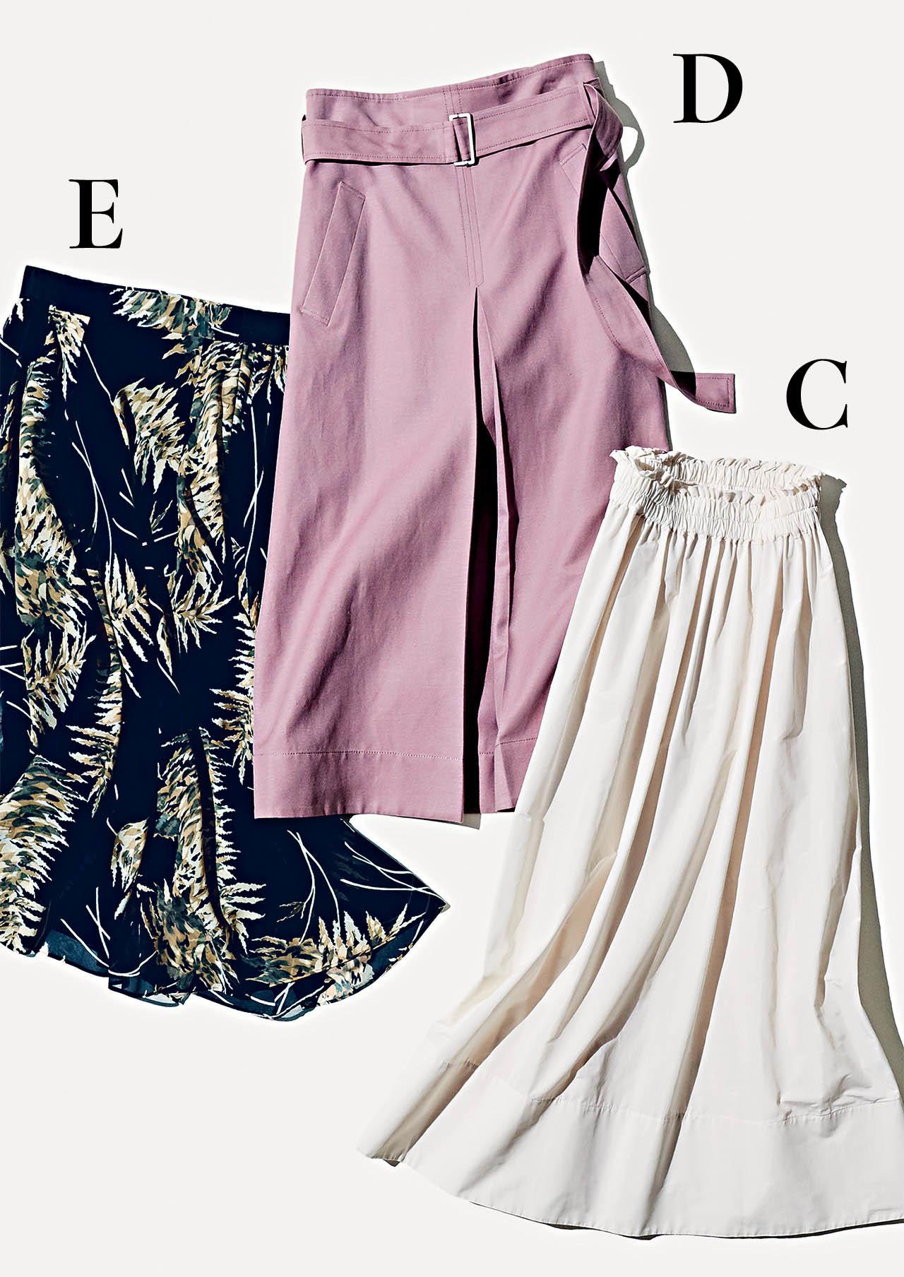 C:エブールの白ギャザースカート D:エブールのラベンダースカート E:レリタージュ マルティニークのプリントスカート