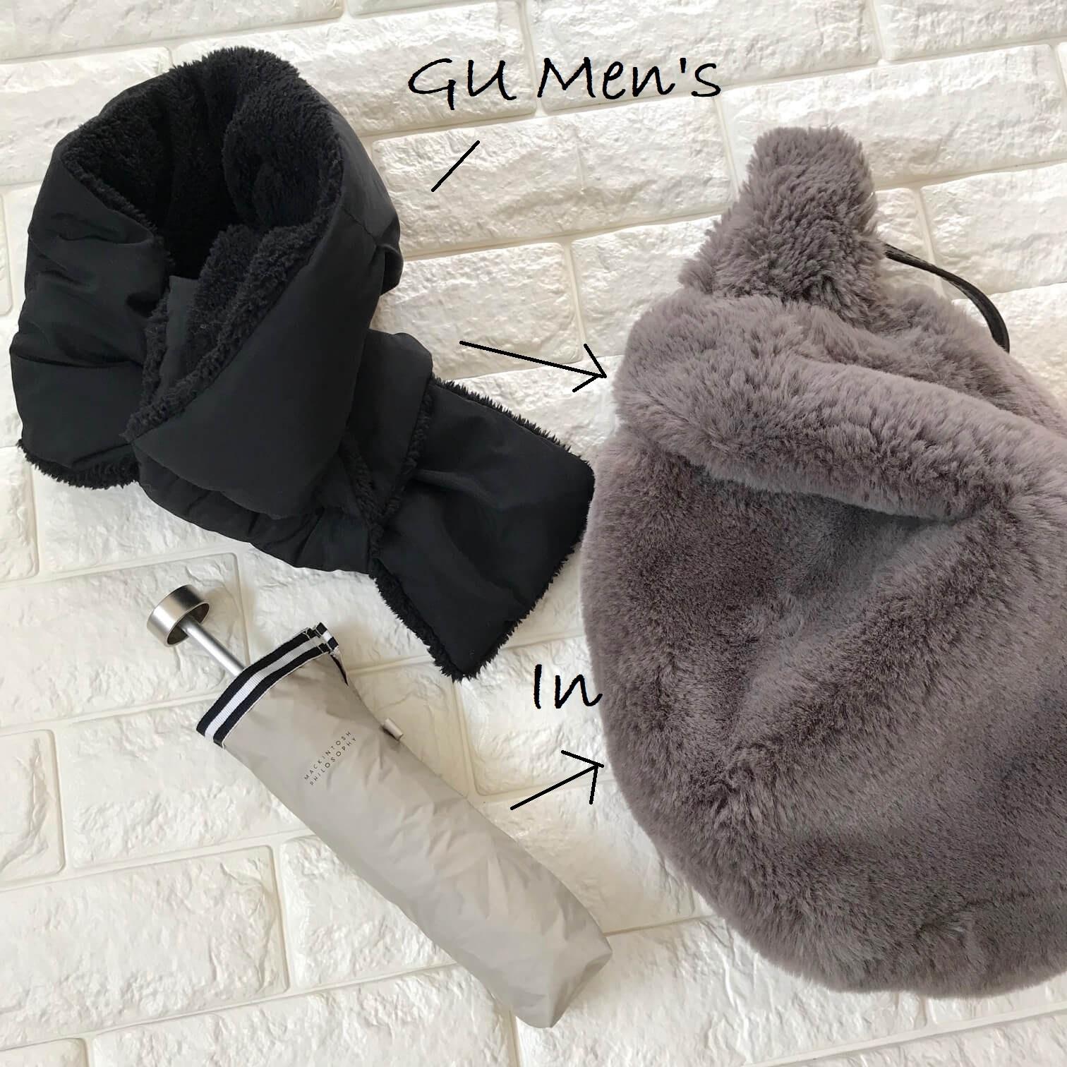 GUメンズマフラーとバッグの画像