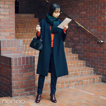 新川優愛は冬の赤を効かせてメリハリ洗練コーデ【毎日コーデ】