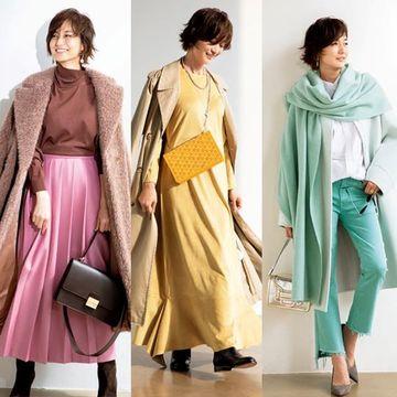 【2020冬】50代を美しくみせる「冬映えカラー」で女性らしい華やかコーデ