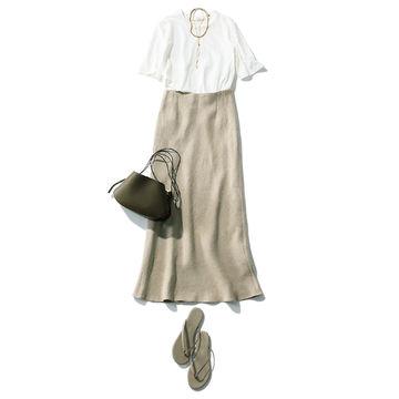 「SACRA」のリネンスカートで洗練コーディネート