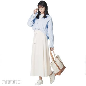 水色シャツと白スカートで春を先取り爽やかコーデ【毎日コーデ】