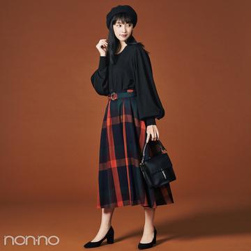 チェック柄が目を引くトレンドロングスカート、黒で引き締め大人に!【毎日コーデ】