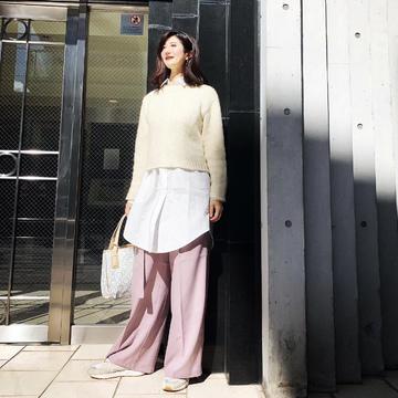 GU桜色パンツでご近所ランチ