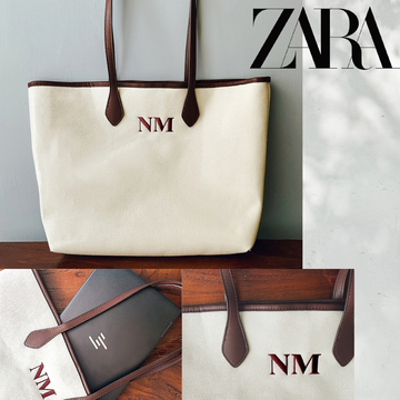 【ZARA】+290円でイニシャル入りオリジナルバッグが作れる! 通学、通勤にもぴったりな「パーソナライズ キャンバス トートバッグ
