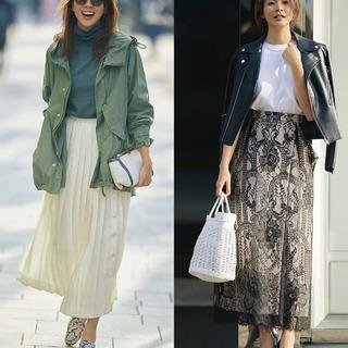 今春注目の華やかスカート。アラフォーはこう着るのが正解!