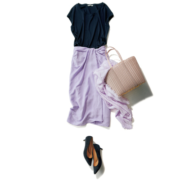 【ガリャルダガランテ真夏のベストワードローブ】休日のアフタヌーンはラベンダーのスカートを主役に