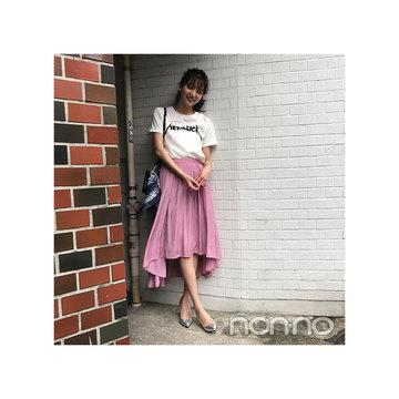 毎日コーデ★優愛は大人可愛い揺れスカートをロゴTで今年らしく