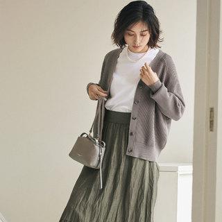 【春の女っぷりワードローブ】Vネックカーディガン&ふんわりティアードスカート