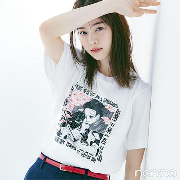 原作漫画のイラストがそのままTシャツに! 西野七瀬が着る ユニクロ「MANGA UT 鬼滅の刃」