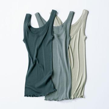 éclat premium認定大人のエッセンシャルアイテム「DRESS HERSELF」シルクリブタンクトップ