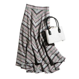 大人のマドラスチェックを楽しむ、フィッシュテールスカート