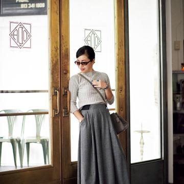 1. ひと目惚れした新作のパンツは、そのままフルレングスで着る