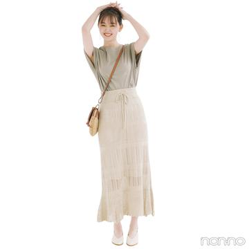 ワントーンコーデは旬の透かし編みスカートで可愛く進化♡【毎日コーデ】