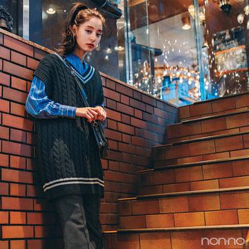 新木優子はビッグベストとフレアパンツでちょいモードを楽しむ!【毎日コーデ】