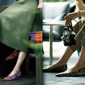 【女顔フラット靴コーデ4選】カジュアルスタイルを華やかに、優雅に導くアイテムを厳選
