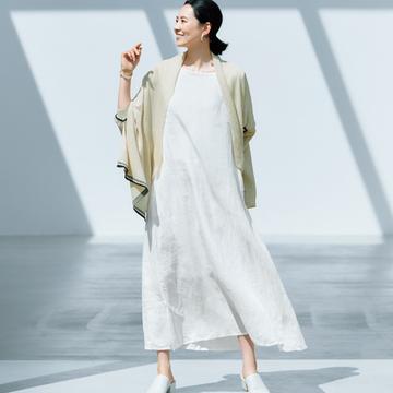 【大人の雰囲気出しワンピース】池田奈加子×Vlas Blommeのリネンワンピース
