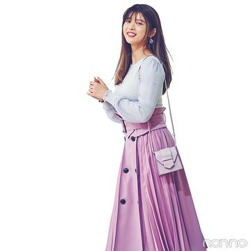 馬場ふみかはラベンダ―色のスカートで誰より可愛く華やぎ♡【毎日コーデ】
