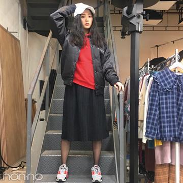 高田里穂のクールカジュアル♡ 赤のパーカはGUのメンズライン!【モデルの私服】