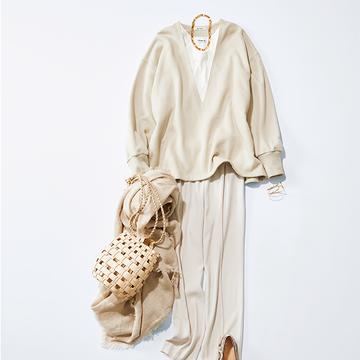 エディター・東原妙子さんがセレクト!「深Vネックのスウェット」で春の重ね着を楽しんで