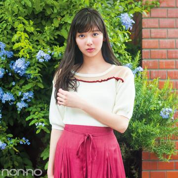 新川優愛のデコルテシースルーニット着回し☆今もちょい先も10月も着られる!