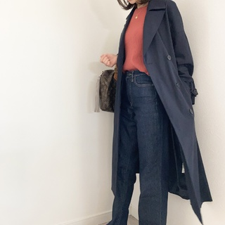 ZARA♥ネイビートレンチでトラッドコーデ【momoko_fashion】
