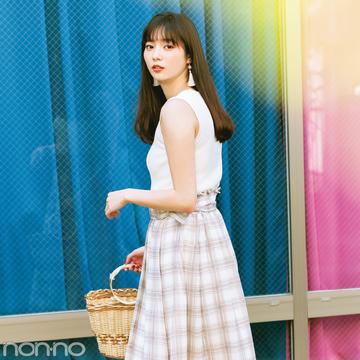 新川優愛が10月まで着回す! シアーチェックのロングスカート♡