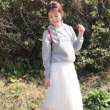 松川菜々花のプチプラで甘めカジュアルドライブコーデ【毎日コーデ】