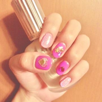 夏のピンクネイル♡