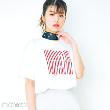 今日からすぐマネできる! 白のロゴTシャツ女っぽ着回しコーデ1×5★