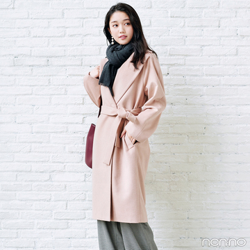 ユニクロの冬名品♡ ピンクのラップコートできれいめスタイル完成!【毎日コーデ】