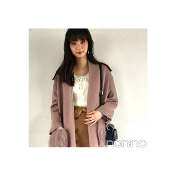 優愛が着るくすみピンクのファーつきコート【毎日コーデ】