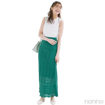 ノースリ×きれい色スカートで簡単スタイルアップ【毎日コーデ】