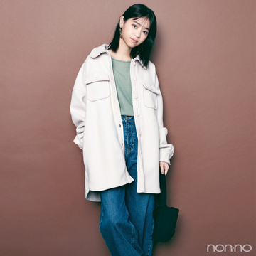 西野七瀬はシャツジャケット&ゆるデニムで今っぽカジュアルに【毎日コーデ】