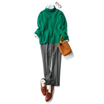 【Day16】ソックス+グレーパンツのトラッドスタイルで、たまった仕事をクリアに!【冬の洗練パンツ30days】