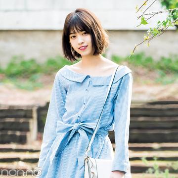 西野七瀬が着回す春のストライプワンピ♡ 清楚もカジュアルもいける!