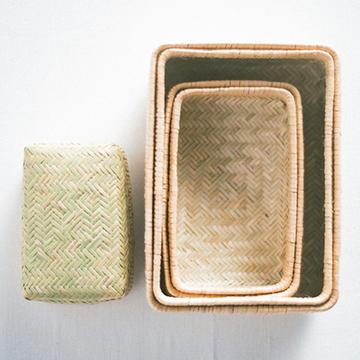 天然素材の手作り ござ九・森九商店「箱型竹製物入れ」