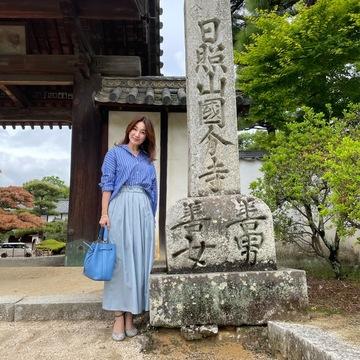 ブルー、ブルー、ブルー♪全身ブルーコーデで備中国分寺を散歩