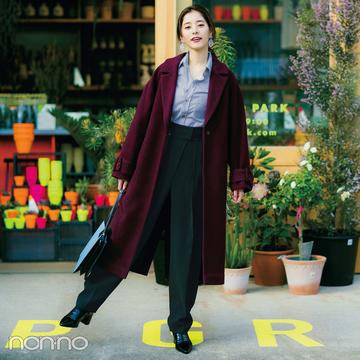 新木優子はストライプシャツでコートスタイルに抜け感【毎日コーデ】