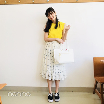新川優愛の夏っぽイエローがまぶしいバランスUPコーデ【毎日コーデ】