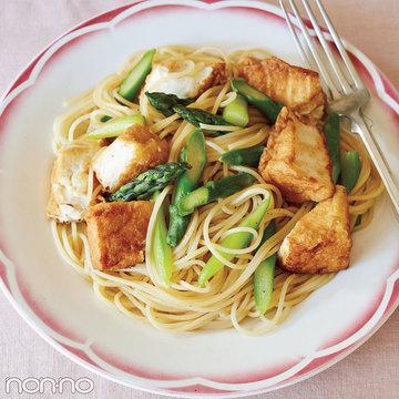 たった2食材で栄養もたっぷり! 厚揚げとアスパラのパスタ