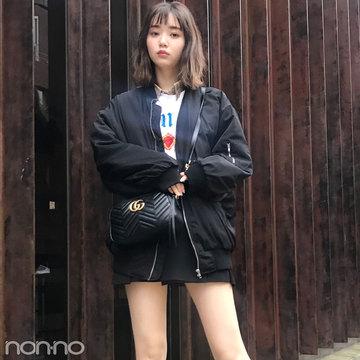 本日の江野沢愛美は韓国のメンズ風コーデ。美脚生かしのミニ+ブーツがクール!【モデルの私服スナップ】